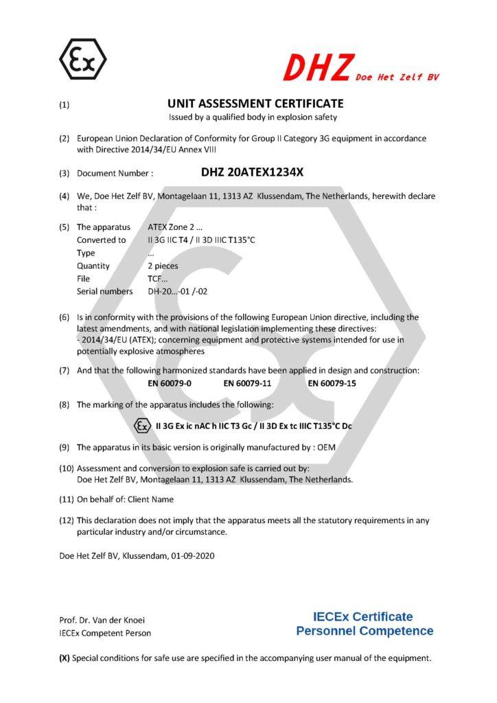 Fictief Certificaat Fa DHZ