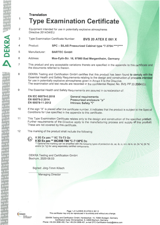 A voluntary certificate from a genuine recognized Notified Body, DEKRA GmbH.