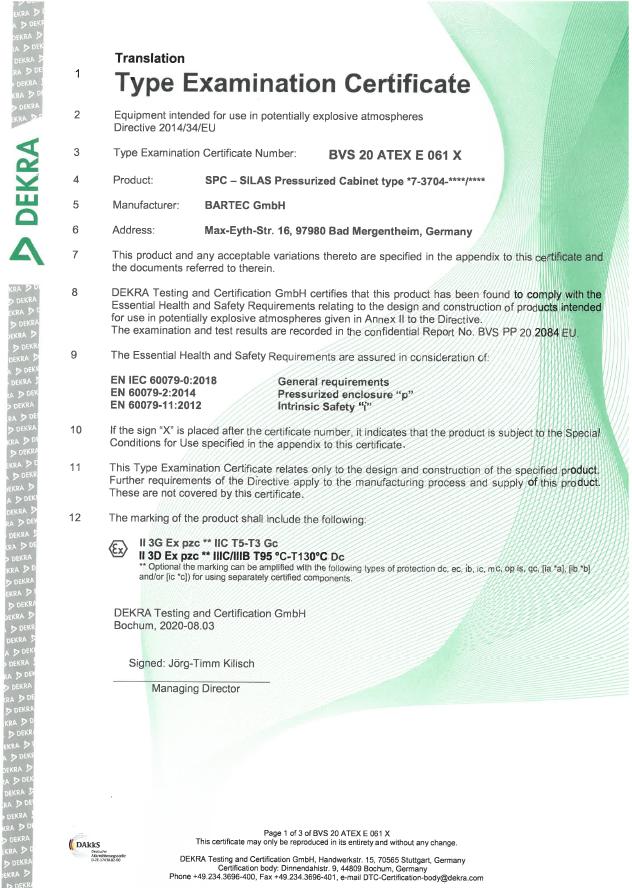 Type Examination Certificate van DEKRA
